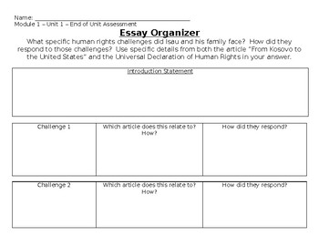 Grade 5 ELA Module 1 End of Unit Assessment Organizer