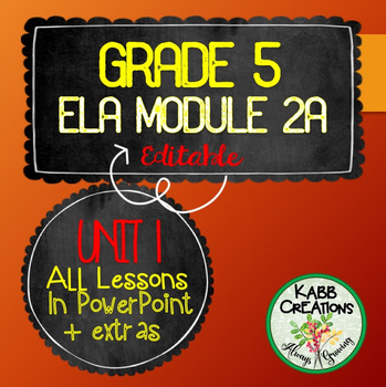 Grade 5 ELA Module 2A Unit 1 Lesson Guides in PowerPoint Fully Editable!