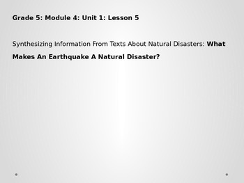 Grade 5 ELA Module 4 Unit 1 Lesson 5