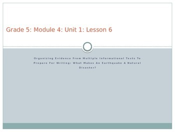 Grade 5 ELA Module 4 Unit 1 Lesson 6