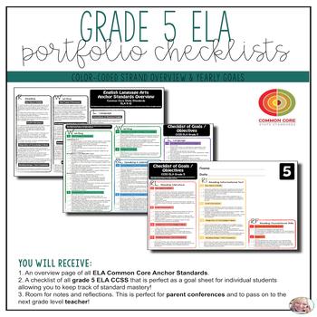 Grade 5 ELA Portfolio Checklists ~ CCSS Overview & Checklists