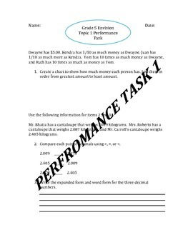 Grade 5 Editable Envision Topic 1 Performance Task includes Student's Rubric