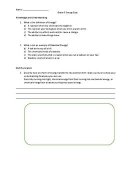 Grade 5 Energy Quiz