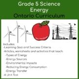Grade 5 Energy Science Unit, GOOGLE SLIDES VERSION
