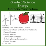 Grade 5 Energy Science Unit - Ontario Science Curriculum