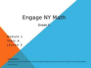 5th Grade Engage New York Math Module A Lesson 2