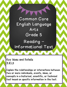 Grade 5 English Binder Covers and Dividers for the Common Core Standards