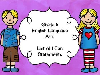 Grade 5 English Language Arts I Can Statements List