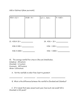 Grade 5 Eureka math mid-module (module 1) assessment alternatives (3 tests)