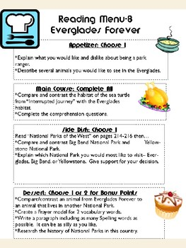 Grade 5: Everglades Forever Journeys Resource Choice Menu Board Rubric