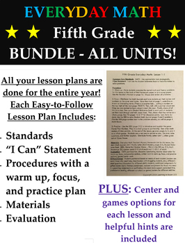 Grade 5 Everyday Math Lesson Plans for Fifth Graders - Entire Year Bundle