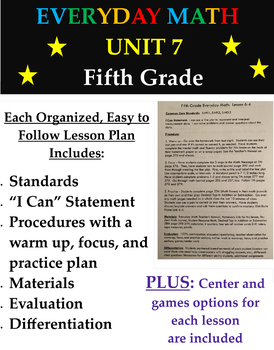 Grade 5 Everyday Math Lesson Plans for Fifth Graders - Unit 7 (4th edition)