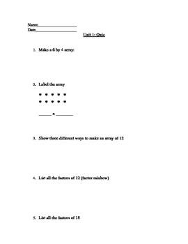 Grade 5 Everyday Math Unit 1 Review Quiz