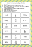Grade 5, Fraction, Percentage and Decimal, Matching Game