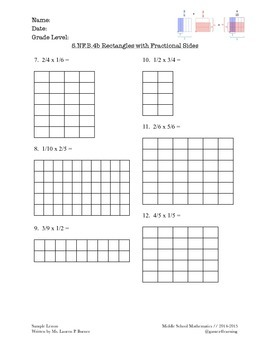 Grade 5 - Fractional Side Lengths of a Rectangle