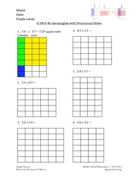 Grade 5 Fractional Side Lengths of a Rectangle (CCLS-aligned) 5.NF.B.4b