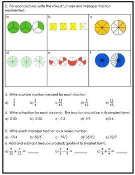 Grade 5 Fractions & Decimals Assessment