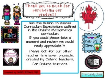 Grade 5 Fractions Rubric for Ontario Math Curriculum