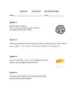 Grade 5 Fractions worksheet