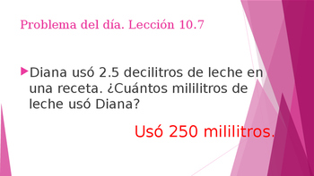 Grade 5 - GO MATH! Problem of the day (Spanish) / Chapter 10