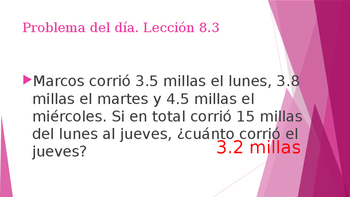 Grade 5 - GO MATH! Problem of the day (Spanish) / Chapter 8