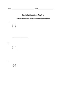 Grade 5 GO Math Chapter 6 Review Sheet by mrssyed | TpT