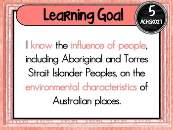 Grade 5 Geography – Aus curric Learning Goals & Success Criteria Posters