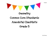 Grade 5 Geometry Standards Checklist