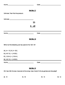 Grade 5 Go Math Exit Slips Ch.1 & 2 questions and answer key