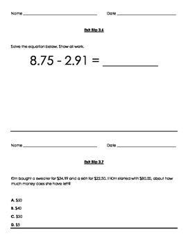 Grade 5 Go Math Exit Slips Ch.3-6  with answer key