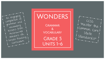 Grade 5 McGraw-Hill Wonders Grammar and Vocabulary Mini Lessons BUNDLE