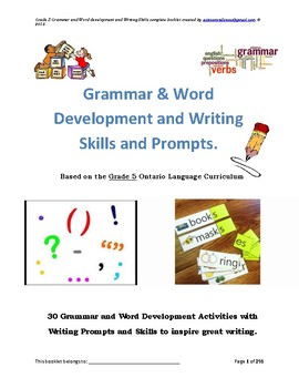Grade 5 Grammar and Writing Prompts 30 Different activities