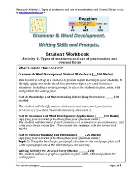 Grade 5 Grammar and Writing Prompts Activity 1: Types of sentences