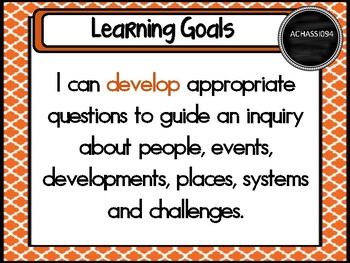 Grade 5 HASS – Aus curric Learning Goals & Success Criteria Posters.