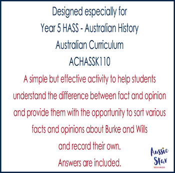 Australian Explorers– Burke and Wills – Fact and Opinion Activity
