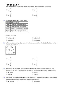 Grade 5 HOTS, Mathematical Olympiad, IMO, AMC Worksheet