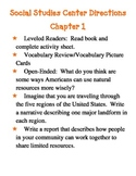 Grade 5 Harcourt Social Studies Center Directions