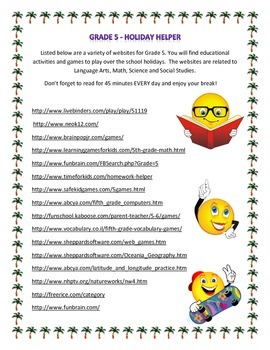 Grade 5 Holiday Helper