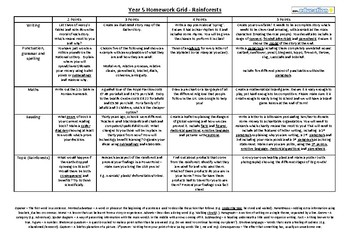 Grade 5 Homework Grid (writing, SPAG, math, reading and topic - rainforests)
