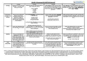 Grade 4 Homework Grid (writing, SPAG, math, reading and topic - volcanoes)