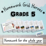 Grade 5 Homework Grids - Yearly Pack