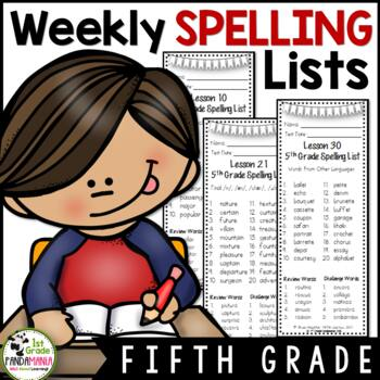 Grade 5 Houghton Mifflin Journeys 2011 Weekly Spelling Lists (to send home)