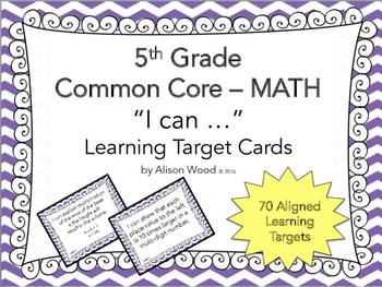 "Grade 5 ""I can"" MATH Learning Target Printables - Purple Chevron"