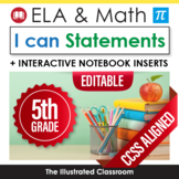 Common Core Standards I Can Statements for 5th Grade Half Page Bundle
