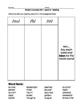 Grade 5 Journeys Unit 1 Lesson 5 spelling