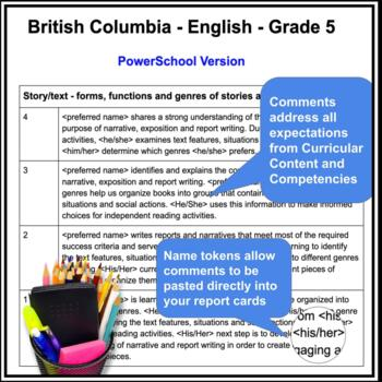 Report Card Comments - LANGUAGE ARTS - Ontario Grade 5