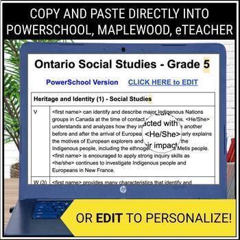 grade 5 report card comments  Report Card Comments - Ontario Grade 6 Social Studies - EDITABLE