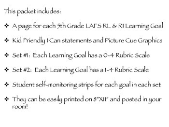 Gr 5 LAFS RL & RI Goals 2 Sets of Rubrics, Graphics & Self-Monitoring Tool