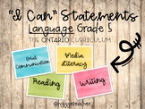 """Grade 5 Language """"I Can"""" Statements/Success Criteria *Ontario Curriculum*"""