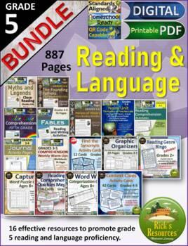 5th Grade Reading Comprehension Language Activities Bundle
